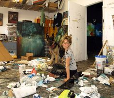 Michel Keck . in her studio.  Now that's what I call a working studio!!!  Cool  :)