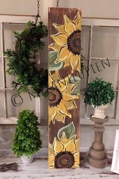 Items similar to wooden sunflower porch sign - Sunflower wooden sign - primitive sign - Welcome wooden since - Large porch sign rustic wooden sign on Etsy Wood Pallet Art, Pallet Painting, Pallet Crafts, Tole Painting, Wooden Crafts, Painting On Wood, Wood Art, Pallet Signs, Crafts To Make