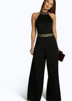 Black and Gold Jumpsuit Dressy Outfits, Cute Outfits, Embellished Jumpsuit, Elegantes Outfit, Fashion Dresses, Girl Fashion, Jumpsuits For Women, Fashion Jumpsuits, Casual Chic