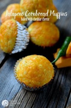 Jalapeno Cornbread Muffins baked with Cheddar Cheese | These cornbread ...