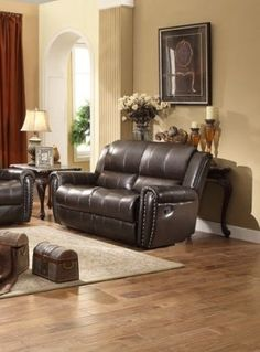 Bosworth Traditional Dark Brown Leather Double Reclining Loveseat