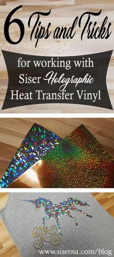 Holographic HTV isn't tricky when you know these 6 tips and tricks! Create dazzling iron on vinyl crafts with your craft cutter and Siser HTV.