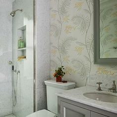 Gray and orange wallpaper by Lauren Stern Design