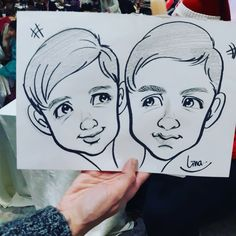 An amazing caricature of 2 brothers drawn from caricature artist Lina at a corporate Christmas party 2 Brothers, Caricature Artist, Favours, Sketches, Draw, Portrait, Amazing, Illustration, Party