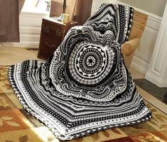 Crochet Mandala Pattern, Afghan Crochet Patterns, Crochet Stitches, Crochet Hooks, Knitting Patterns, Crochet Afghans, Crochet Paisley, Crochet Granny, Free Knitting