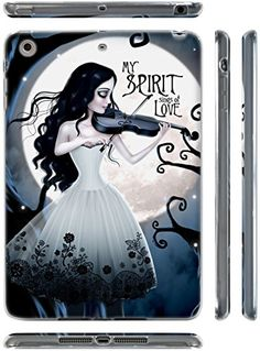 """Blue, Black, and White {Goth Girl Playing Violin} Soft and Smooth Silicone Cute 3D Fitted Bumper Back Cover Gel Case for iPad Mini 1, 2 and 3 by Apple """"Durable and Slim Flexible Fashion Cover with Amazing and Creative Cartoon Design - All Ports Accessible"""" mySimple Products http://www.amazon.com/dp/B00WNKCMEC/ref=cm_sw_r_pi_dp_ilmCwb0B3ZRJE"""