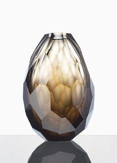 Wonderful, smokey, cut glass vase.