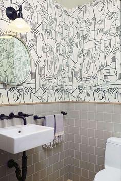 Navy Interior Design: Los Angeles Pilates Studio Bathroom, Graphic Wallcovering, Ceramic Tile Wainscot