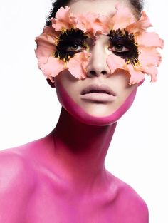 Kouka Webb makeup with flowers for beauty shoot on Vogue China Magazine May 2016 issue
