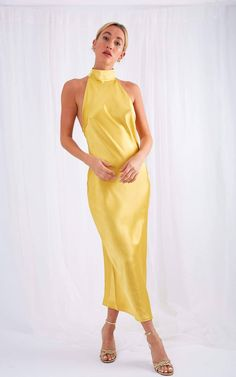Satin Dresses, Formal Dresses, Yellow Bridesmaid Dresses, Colourful Outfits, Colorful Clothes, Matte Satin, Yellow Dress, Backless, Casual Outfits
