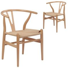Natural Hans Wegner Replica Wishbone Chair (Set of by Milan Direct. Get it now or find more Dining Chairs at Temple & Webster. Next Dining Chairs, Dining Chair Set, Side Chairs, Bar Chairs, Dining Room, Lounge Chairs, Room Chairs, Side Tables, Dining Table