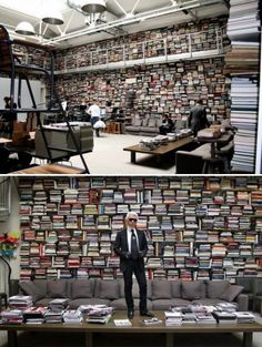 Karl Lagerfield on Karl Lagerfield's Schedule (is also kind of a hoarder) Karl Lagerfeld, Andree Putman, Dream Library, Cozy Library, Edit My Photo, Personal Library, Home Office, Home Libraries, Cozy Nook
