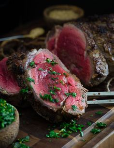 Balsamic dijon crusted beef tenderloin. The perfect Valentine's Day meal served with a Meyer lemon gremolata and done in just 30 minutes!