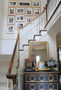 A Gallery Wall For Our New Entryway and Upstairs Hallway - Dear Lillie Studio Upstairs Landing, Upstairs Hallway, Hallway Pictures, Hallway Ideas, Stairway Gallery Wall, Stairway Lighting, Hallway Walls, Stairway Walls, Dear Lillie