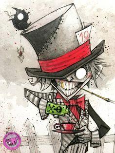 The Mad Hatter art print – Alice in Wonderland – Inktober 2018 Tatto Drawings – Top Fashion Tattoos Dark Alice In Wonderland, Alice In Wonderland Drawings, Wonderland Party, Creepy Drawings, Dark Art Drawings, Drawing Sketches, Arte Horror, Horror Art, Dark Art Illustrations