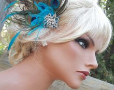 Wedding Fascinator Peacock Hair Clip Bridal by kathyjohnson3