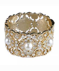 Pearl and Crystal Hinged Bangle Bracelet