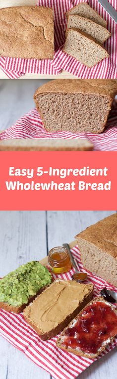 Simple 5-ingredient wholewheat bread. You just don't get easier than this no-fail recipe! Hearty, wholesome, nourishing, vegan and delicious! Vegan | Vegan Bread | Vegan Sides | lovingitvegan.com
