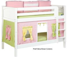 Maxtrix Bunk Bed Tents For Kids | Pink Green and Yellow 3220-025 by Maxtrix Furniture | Maxtrix Bunkbed Tent