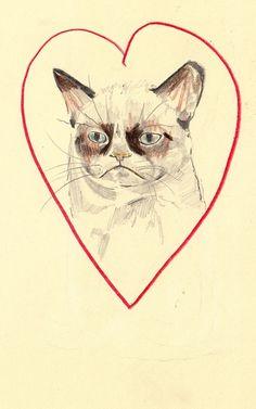 Grumpy Cat Love t-shirt design by Withapencilinhand #tshirt #design #cat