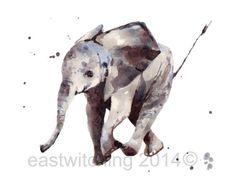 ELEPHANT Art Print Elephant painting nursery art by eastwitching