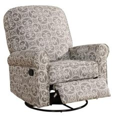 PRI Ashewick Doodles Fabric Swivel Glider Recliner Comfort Chair in Ash Grey-DS-911-006-231 - The Home Depot