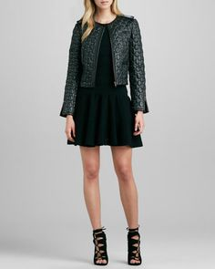 Andrew Marc Sophie Tie-Waist Leather Jacket - Neiman Marcus