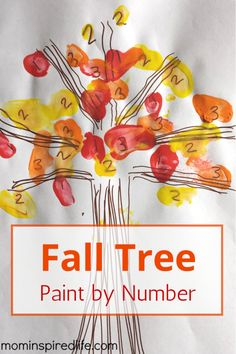 Number Recognition Fall Tree Paint by Number