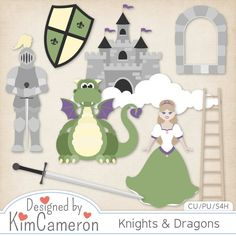 Knights & Dragons - Medieval - Layered PSD Templates with PNG by Kim Cameron for Digital Scrapbooking #CUDigitals