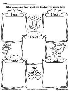 **FREE** The Five Senses in the Spring Time Worksheet. Use the five senses in the spring time printable worksheet to encourage your child to explore the 5 senses by describing what they hear, see, touch, taste and smell during the spring time. #MyTeachingStation