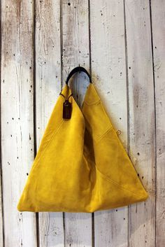 "Nothing compliments a beautiful BELT like a beautiful tote. Handmade Italian yellow Suede Leather Handbag ""TRIANGLE BAG"""