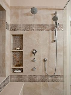 Awesome Shower Tile Ideas Make Perfect Bathroom Designs Always : Beautiful Shower Tile Ideas, great built ins
