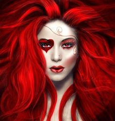 Queen of hearts makeup for Halloween - Halloween Costumes 2013 Queen Of Hearts Makeup, Queen Of Hearts Costume, Red Queen Costume, Red Queen Makeup, Fantasy Make Up, Fantasy Art, Heart Face, Heart Eyes, Halloween Disfraces