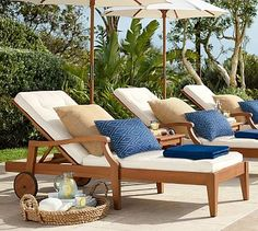 Hampstead Teak Single Chaise - Honey #potterybarn