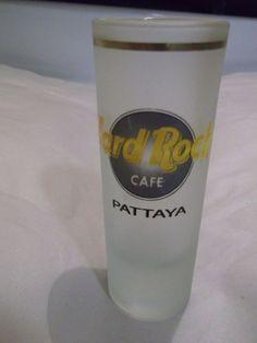 Rare Hard Rock Cafe Tall Frosted Shot Glass Pattaya Location 22 Karat Gold Trim