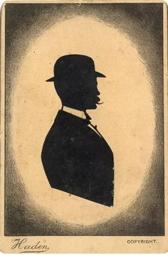 an 'old time silhouette' as sold by professor Haden at hinckley point in the late nineteenth century. one of a handful of silhouettists to stubbornly continue cutting in the face of competition from photography