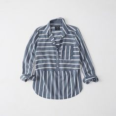 Abercrombie & Fitch Poplin Popover Shirt ($35) ❤ liked on Polyvore featuring tops, blue stripe, blue striped top, long-sleeve shirt, striped top, blue collar shirt and striped long sleeve shirt
