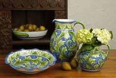 """""""Fiorentino"""" by Casafina is part of the Italian, hand-painted ceramic lines. Its rich blue and green scroll motif is classic to Florence, Italy and provides a beautiful splash of color to your neutral table!"""