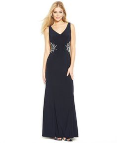 Check out the beautiful beaded floral motif on the back of this dress! Only by Joanna Chen. #Macys #JoannaChenNY