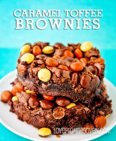 Caramel And Toffee Brownies at Love From The Oven