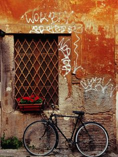 Bicycle Against Wall at Trastavere, Rome, Lazio, Italy Stretched Canvas Print by Izzet Keribar at Art.com