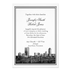This modern wedding invitation set, called Boston Destination Wedding has a bright white background. There is a double border in black and at the bottom an illustration of the Boston skyline. Unusual Wedding Invitations, Illustrated Wedding Invitations, Black And White Wedding Invitations, Destination Wedding Invitations, Save The Date Invitations, Wedding Invitation Design, Wedding Stationery, Invites, Bright White Background