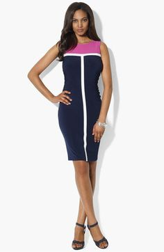 I have this dress. Probably will wear at graduation. Lauren Ralph Lauren Colorblock Jersey Sheath Dress available at #Nordstrom
