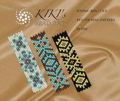 Pattern, peyote ring patterns Ethnic ring 7,8,9 - peyote ring pattern set of 3, pattern in PDF - instant download
