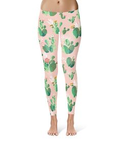 Cactus In Bloom Retro  Leggings in XS-3XL   Sports by RainbowRules