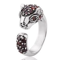 925 Sterling Silver Inlayed Gemstones Cute Leopard Antique Open Ring Gift for Women