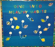 PE Bulletin Board – Dive into healthy habits – each fish is naming a healthy hab… - Modern Fish Bulletin Boards, Cafeteria Bulletin Boards, Nutrition Bulletin Boards, Nurse Bulletin Board, Back To School Bulletin Boards, Cafeteria Decor, Nursing Student Quotes, Nursing Students, Nursing Schools