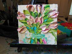 Oil Painting Pink Tulips Art Still life Wall by IronsideImpastos, $40.00