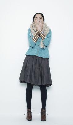 Grey skirt & Blue cardigan