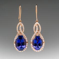 LeVian Oval Tanzanite & Diamond Earrings 18K Rose Gold